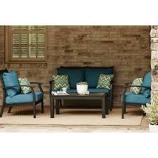 Deep Seat Patio Chair Cushions Allen Roth Black Patio Furniture Set 3 Aluminum Conversation