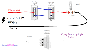 two way light switch connection and way wiring diagram for