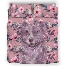 australian shepherd fabric australian shepherd dog breed bedding set pink flowers u2013 pemberry
