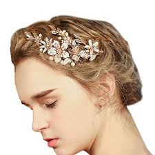 hair accessories for prom faybox wedding bridal golden floral hair with bling