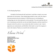 appreciation letter from our friends at safehorizon streetwork