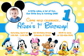 baby mickey 1st birthday free mickey mouse clubhouse birthday invitations to make party