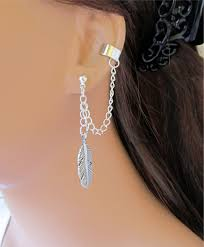 earrings with chain ear cartilage chain ear cuff wrap cartilage non ecuatwitt