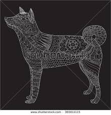 hokkaido ainu dog coloring antistress adults stock vector