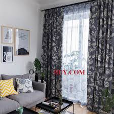 Blue And White Floral Curtains Blue And White Floral Printed Linen And Cotton Living Room