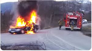 firefighter fail car on fire wreaks havoc youtube