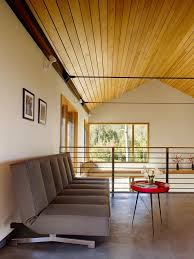 office cabin ceiling design home office modern with wood trim red