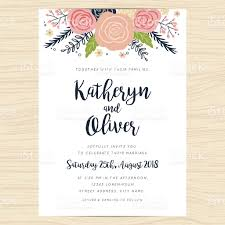 25th Anniversary Invitation Cards Wedding Invitation Card With Hand Drawn Wreath Flower Template