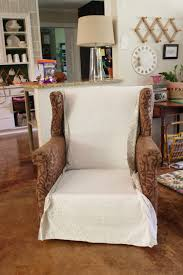 Wing Chair Slipcovers Wingback Chair Slipcover Tutorial Create Your Own Diy Slipcover