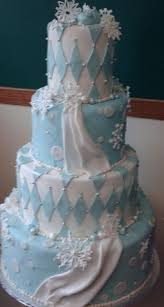 wedding cake blue white snowflakes tamara u0027s cakes oshkosh