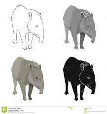 mexican tapir icon in cartoon style isolated on white background