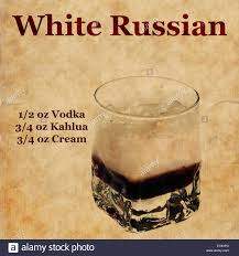 white russian cocktail old vintage or grunge recipe notebook with white russian cocktail