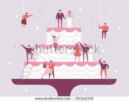 giant wedding cakes giant wedding cake small people character stock vector 751342333