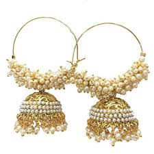 gold earrings for marriage buy mellow meera gold plated hoop jhumki high quality with pearls