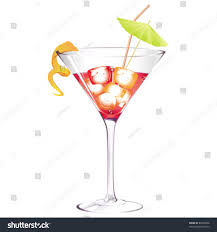 Cosmopolitan Cocktail Drink Isolated On White Stock Vector