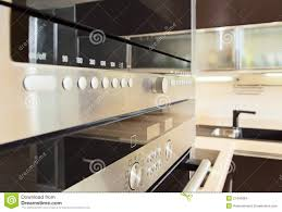 build in microwave oven in modern kitchen stock images image