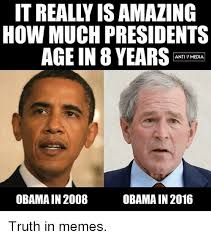 Anti Obama Meme - how much presidents age in 8 years anti media obama in 2008 obama