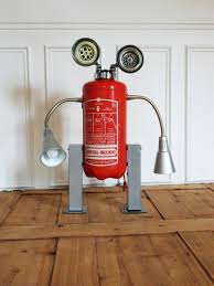 robot lamp made with a recycled fire extinguisher fire