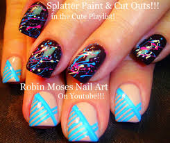 robin moses nail art splatter paint nail art technique with blue