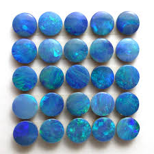blue green opal opal 4mm round calibrated cabochon doublet green blue