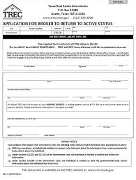 application for broker to return to active status trec