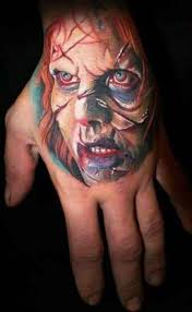 colorful exorcist movie horror tattoo on hand tattoos book