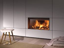 wood burning built in fireplace with panoramic glass plasma 115