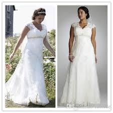 discount vintage plus size lace wedding dresses empire waist v