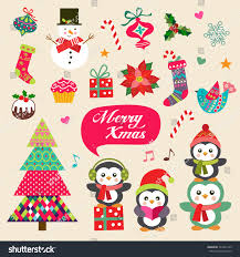 vector set christmas decoration symbols icons stock vector
