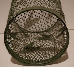 vintage green metal wire mesh small waste basket leaf pattern