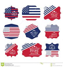 Big American Flags Sale Label Set Design Elements In American Flag C Stock Vector