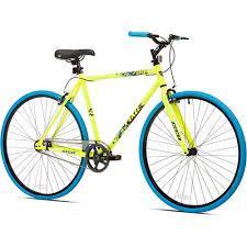 700c kent thruster men u0027s fixie bike yellow blue walmart com