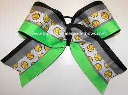 softball ribbon softball ribbon neon green big spirit team hair bow