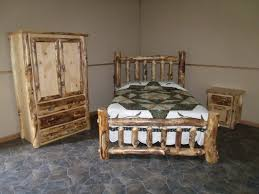 nightstand rustic iron frames queen log frame platform beds