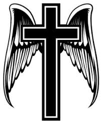 cross with wings decal sticker