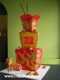 cakelava chinese takeout boxes wedding cake