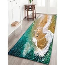 sea beach print flannel antiskid bathroom rug in deep green w16