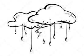 sketch clouds with rain and thunderstorms isolated vector illus