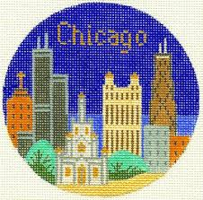 chicago ornament silver needle needlepoint