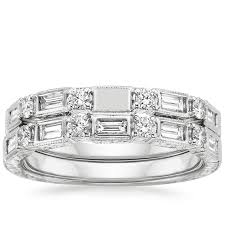white gold bridal sets 18k white gold vintage diamond baguette bridal set brilliant earth