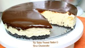 no bake peanut butter oreo cheesecake in the kitchen with jonny