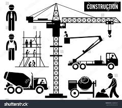 construction scaffolding tower crane mixer truck stock vector