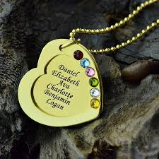 Kids Name Necklaces Engraved Heart Birthstones Necklace Gold Color Personalized Kids
