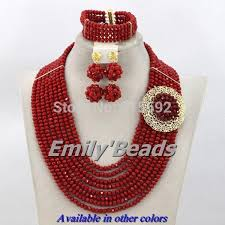 red crystal bead necklace images Hot design nigerian wedding african beads jewelry set red crystal jpg