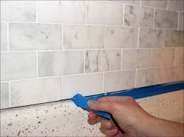 Grout Kitchen Backsplash Kitchen Room Carrera Subway Tile Backsplash Grouting Marble Tile
