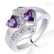 silver rings stones images 2018 women twin heart 5mm stone purple amethyst 925 sterling jpg