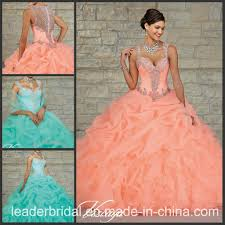coral quince dress teal blue coral organza ruffed gown cap sleeve quinceanera
