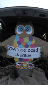exterior trunk or treat decorating ideas for church and owl you