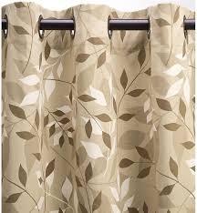 Khaki Curtains Leaves Grommet Top Double Width Curtains 84