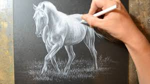 drawing a horse with a white colored pencil crayon youtube